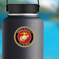 Proud US Marine Dad Sticker on a Water Bottle example