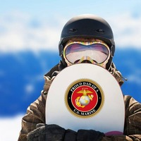 Proud US Marine Dad Sticker on a Snowboard example