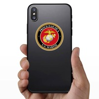 Proud US Marine Dad Sticker on a Phone example