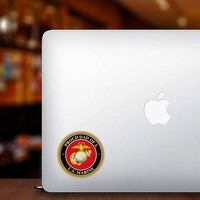 Proud US Marine Dad Sticker on a Laptop example