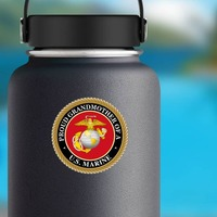 Proud US Marine Grandmother Sticker on a Water Bottle example