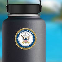 Proud US Navy Dad Sticker on a Water Bottle example