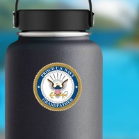 Proud US Navy Grandfather Sticker on a Water Bottle example