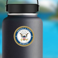 Proud US Navy Husband Sticker on a Water Bottle example