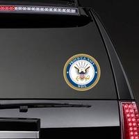 Proud US Navy Wife Sticker on a Rear Car Window example