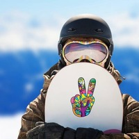 Psychedelic Hand Peace Sign Hippie Sticker on a Snowboard example