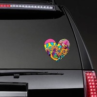 Psychedelic Heart Shaped Hippie Sticker on a Rear Car Window example
