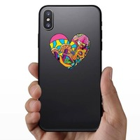 Psychedelic Heart Shaped Hippie Sticker on a Phone example