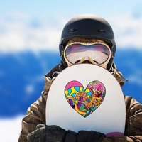 Psychedelic Heart Shaped Hippie Sticker on a Snowboard example