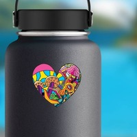 Psychedelic Heart Shaped Hippie Sticker on a Water Bottle example
