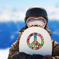 Psychedelic Peace Sign Hippie Sticker on a Snowboard example
