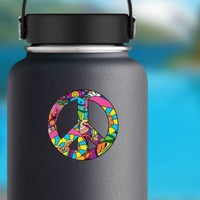 Psychedelic Peace Sign Hippie Sticker on a Water Bottle example