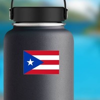 Puerto Rico Flag Sticker on a Water Bottle example