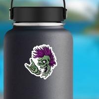 Punk Rock Cartoon Skull Sticker on a Water Bottle example
