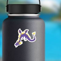 Purple and Yellow Wyvern Dragon Sticker on a Water Bottle example
