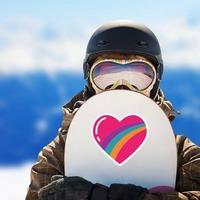 Rainbow Heart Hippie Sticker on a Snowboard example