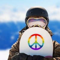 Rainbow Peace Sign Hippie Sticker on a Snowboard example