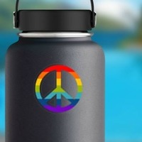 Rainbow Peace Sign Hippie Sticker on a Water Bottle example