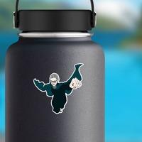 RBG Superhero Sticker on a Water Bottle example
