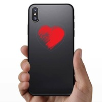 Red Brush Heart Sticker on a Phone example