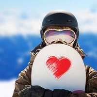 Red Brush Heart Sticker on a Snowboard example