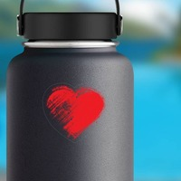 Red Brush Heart Sticker on a Water Bottle example