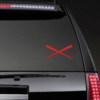 Red Crossed Baseball or Softball Bats Sticker on a Rear Car Window example
