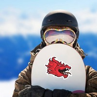 Red Dragon Mascot Sticker on a Snowboard example