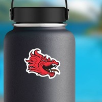 Red Dragon Mascot Sticker on a Water Bottle example
