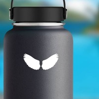 Regal Feathered Wings Sticker on a Water Bottle example