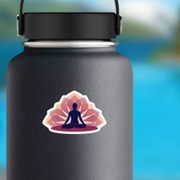 Relaxing Yoga Lotus Sticker on a Water Bottle example