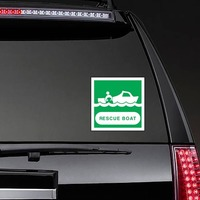 Rescue Boat Sign Sticker on a Rear Car Window example