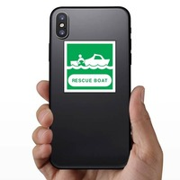 Rescue Boat Sign Sticker on a Phone example
