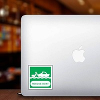 Rescue Boat Sign Sticker on a Laptop example