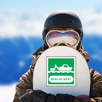 Rescue Boat Sign Sticker on a Snowboard example