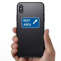Rest Area Here Sticker on a Phone example