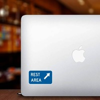 Rest Area Here Sticker on a Laptop example