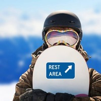 Rest Area Here Sticker on a Snowboard example