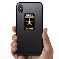 Retired U.S. Army Logo Sticker on a Phone example