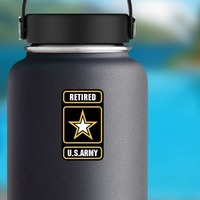 Retired U.S. Army Logo Sticker on a Water Bottle example