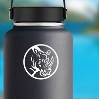 Rhinoceros Head In Circle Sticker on a Water Bottle example