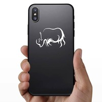Rhinoceros Outline Sticker on a Phone example
