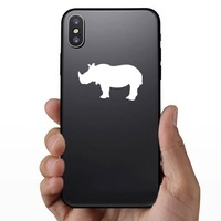 Rhinoceros Silhouette Sticker on a Phone example