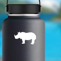 Rhinoceros Silhouette Sticker on a Water Bottle example