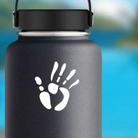 Right Hand Print Sticker on a Water Bottle example