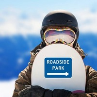 Roadside Park To Right Sticker on a Snowboard example