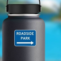 Roadside Park To Right Sticker on a Water Bottle example