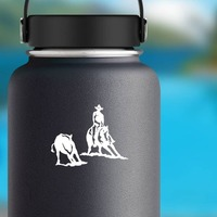 Rodeo Cowboy And Cutting Horse Sticker on a Water Bottle example