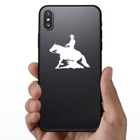 Rodeo Cowboy And Reining Horse Sticker on a Phone example