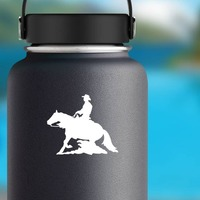Rodeo Cowboy And Reining Horse Sticker on a Water Bottle example